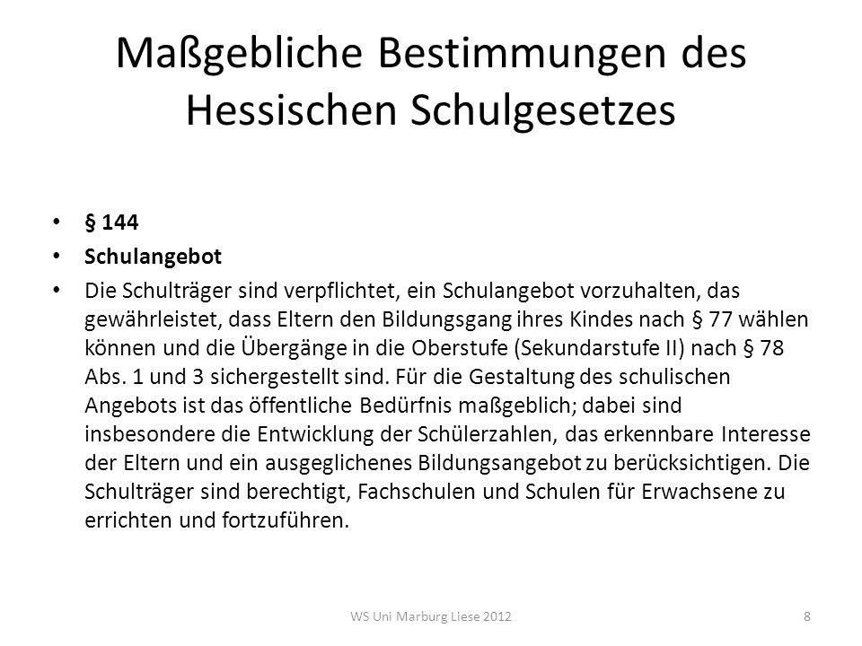 """Grundsatz des Zusammenwirkens von Land und Schulträgern (§ 137 HSchG) """"Bei Errichtung, Organisationsänderung, Aufhebung (...) der öffentlichen Schulen wirken das Land und die Schulträger (...) zusammen. Nach diesem Grundsatz wird das kommunale Selbstverwaltungsrecht im Schulbereich eingeschränkt Der Schulträger stellt seinen Schulentwicklungsplan zwar in eigener Verantwortung auf Das Kultusministerium entscheidet, ob der Planung gemäß HSchG zugestimmt werden kann 19WS Uni Marburg Liese 2012"""