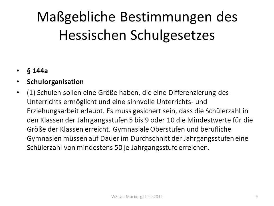 Maßgebliche Bestimmungen des Hessischen Schulgesetzes § 144a Schulorganisation (2) Die Errichtung von Hauptschulen oder Hauptschulzweigen einer schulformbezogenen (kooperativen) Gesamtschule setzt in der Regel voraus, dass sie voraussichtlich mindestens einzügig, die Errichtung von Realschulen und Gymnasien oder den entsprechenden Zweigen einer schulformbezogenen (kooperativen) Gesamtschule, dass sie voraussichtlich mindestens zweizügig geführt werden können.