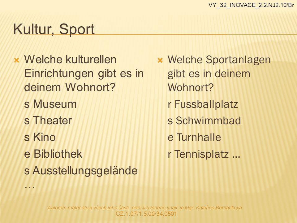 Kultur, Sport  Welche kulturellen Einrichtungen gibt es in deinem Wohnort? s Museum s Theater s Kino e Bibliothek s Ausstellungsgelände …  Welche Sp