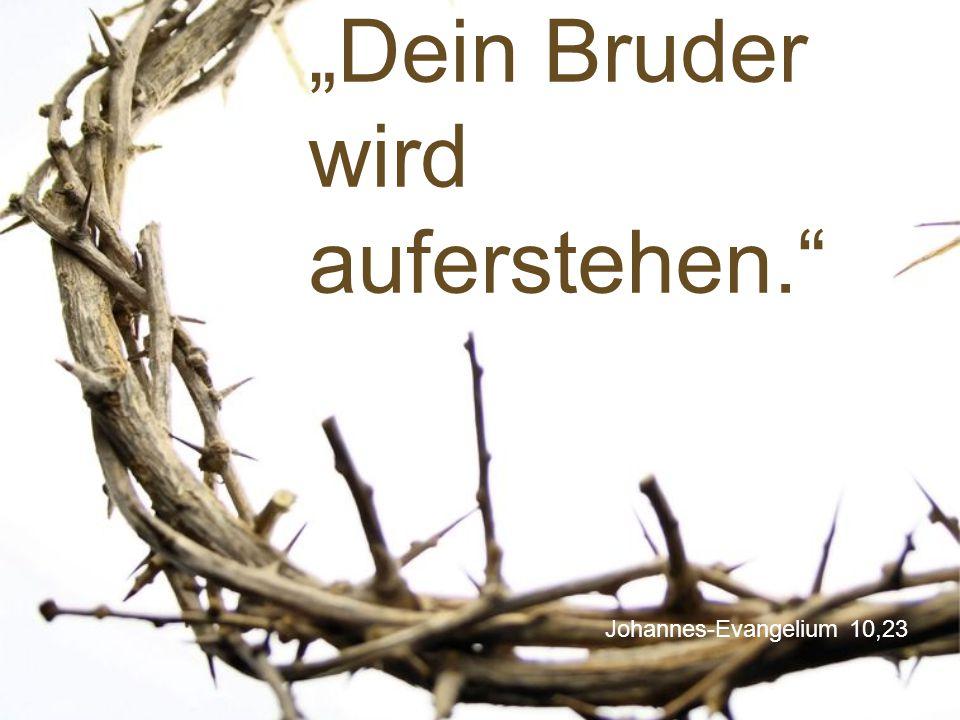 """Johannes-Evangelium 10,23 """"Dein Bruder wird auferstehen."""""""