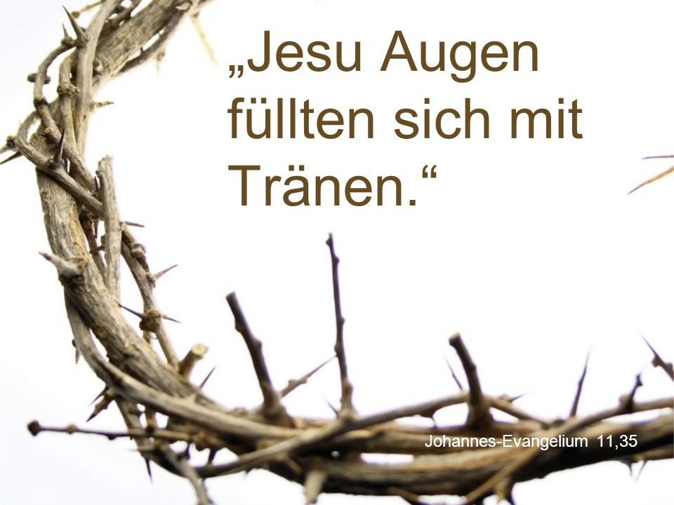 """Johannes-Evangelium 11,35 """"Jesu Augen füllten sich mit Tränen."""""""