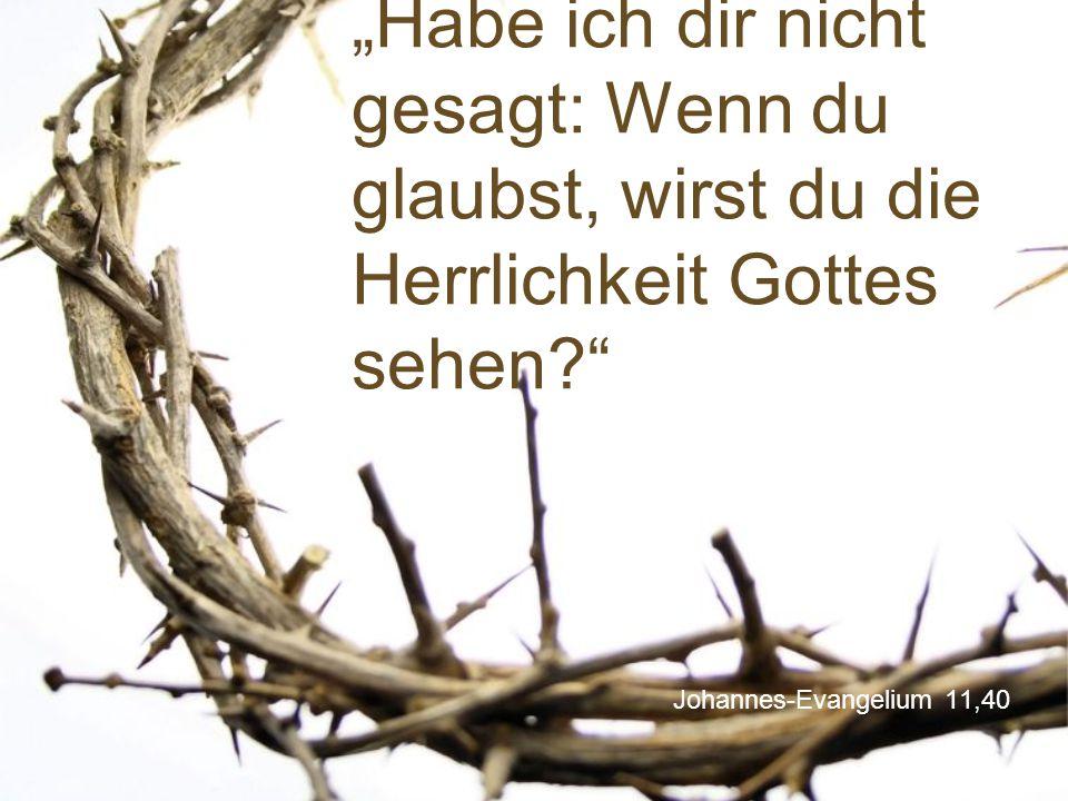 """Johannes-Evangelium 11,40 """"Habe ich dir nicht gesagt: Wenn du glaubst, wirst du die Herrlichkeit Gottes sehen?"""""""