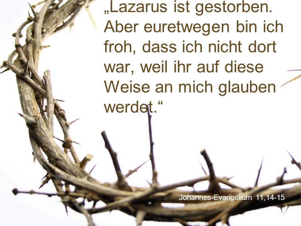 """Johannes-Evangelium 11,14-15 """"Lazarus ist gestorben. Aber euretwegen bin ich froh, dass ich nicht dort war, weil ihr auf diese Weise an mich glauben w"""