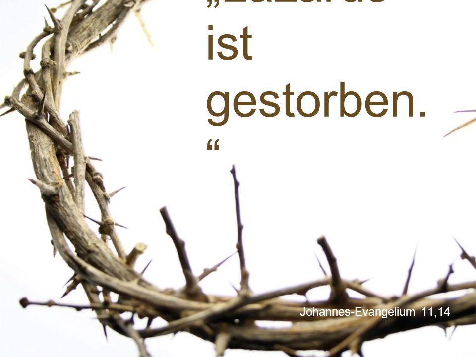 """Johannes-Evangelium 11,14 """"Lazarus ist gestorben. """""""