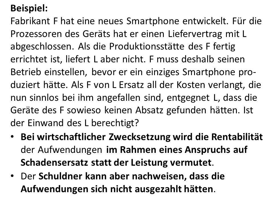 Beispiel: Fabrikant F hat eine neues Smartphone entwickelt. Für die Prozessoren des Geräts hat er einen Liefervertrag mit L abgeschlossen. Als die Pro