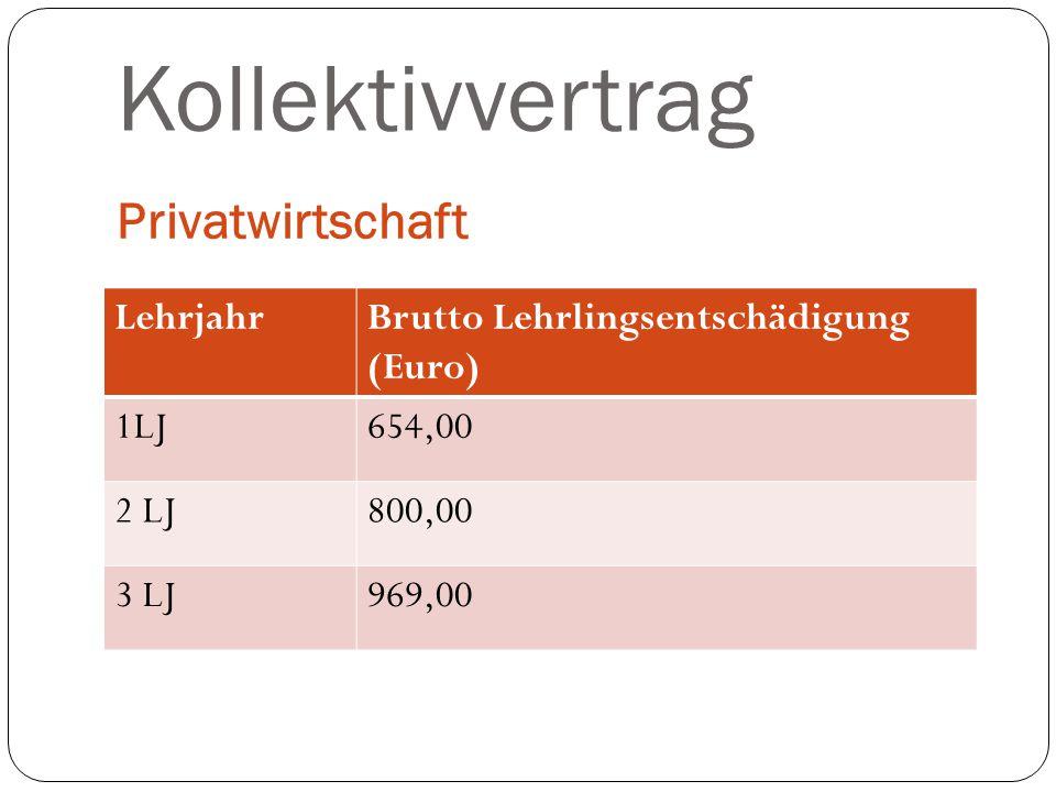 Kollektivvertrag Privatwirtschaft LehrjahrBrutto Lehrlingsentschädigung (Euro) 1LJ654,00 2 LJ800,00 3 LJ969,00
