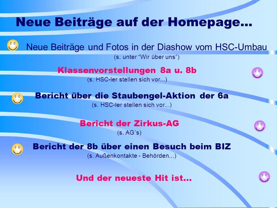 Neue Beiträge auf der Homepage...Neue Beiträge und Fotos in der Diashow vom HSC-Umbau (s.