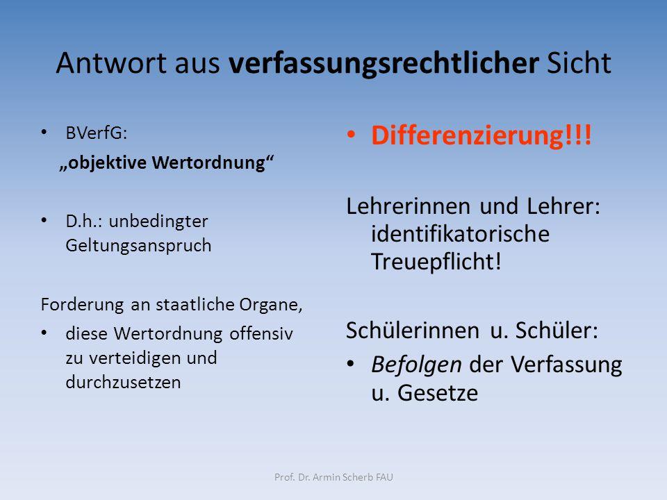 """Antwort aus verfassungsrechtlicher Sicht BVerfG: """"objektive Wertordnung"""" D.h.: unbedingter Geltungsanspruch Forderung an staatliche Organe, diese Wert"""