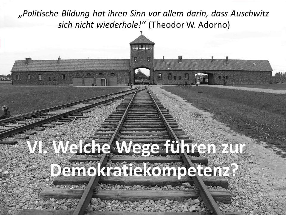 """""""Politische Bildung hat ihren Sinn vor allem darin, dass Auschwitz sich nicht wiederhole!"""" (Theodor W. Adorno) VI. Welche Wege führen zur Demokratieko"""