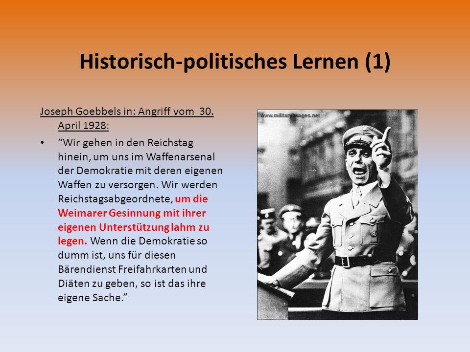 """Historisch-politisches Lernen (1) Joseph Goebbels in: Angriff vom 30. April 1928: """"Wir gehen in den Reichstag hinein, um uns im Waffenarsenal der Demo"""
