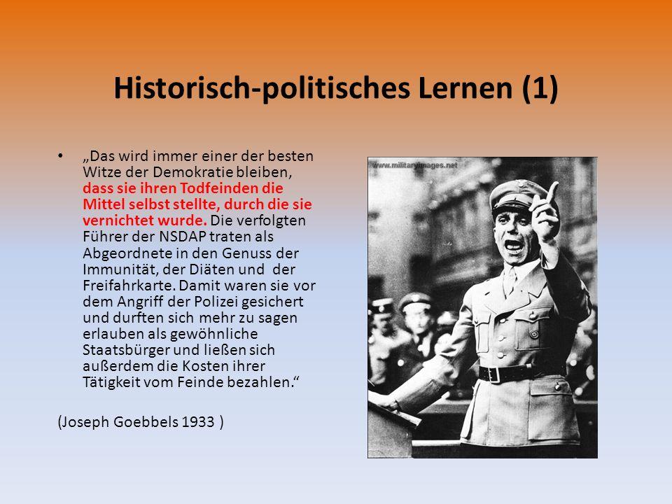"""Historisch-politisches Lernen (1) """"Das wird immer einer der besten Witze der Demokratie bleiben, dass sie ihren Todfeinden die Mittel selbst stellte,"""