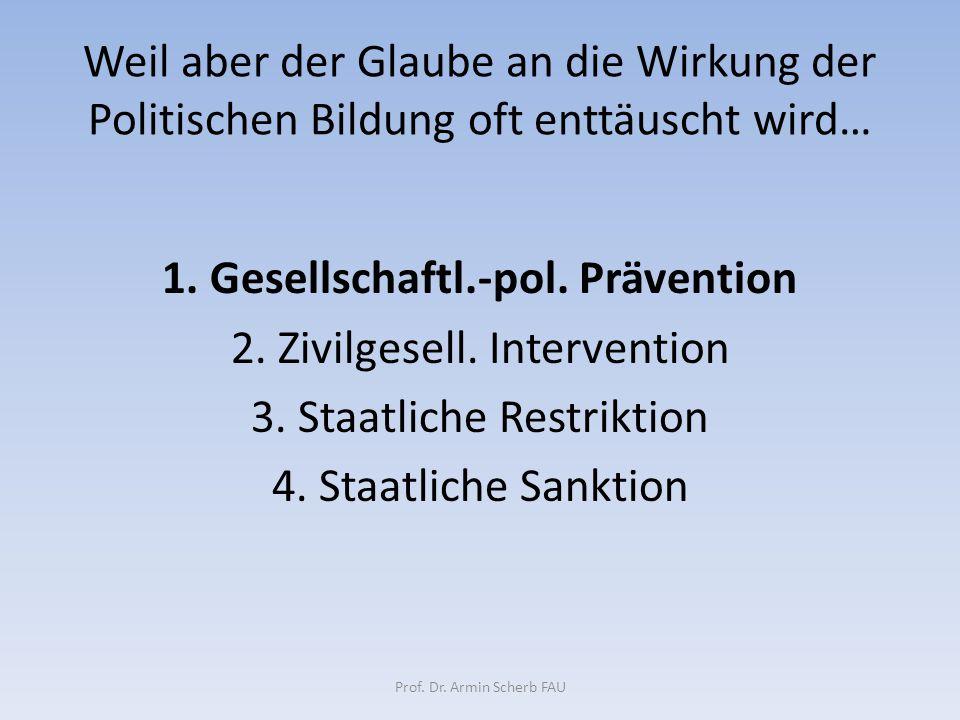 Weil aber der Glaube an die Wirkung der Politischen Bildung oft enttäuscht wird… 1. Gesellschaftl.-pol. Prävention 2. Zivilgesell. Intervention 3. Sta