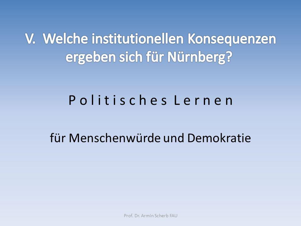 P o l i t i s c h e s L e r n e n für Menschenwürde und Demokratie Prof. Dr. Armin Scherb FAU