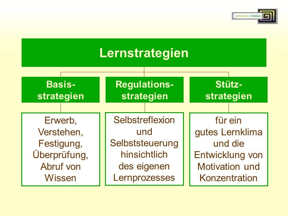 Selbstreflexion und Selbststeuerung hinsichtlich des eigenen Lernprozesses Erwerb, Verstehen, Festigung, Überprüfung, Abruf von Wissen für ein gutes Lernklima und die Entwicklung von Motivation und Konzentration Lernstrategien Basis- strategien Regulations- strategien Stütz- strategien