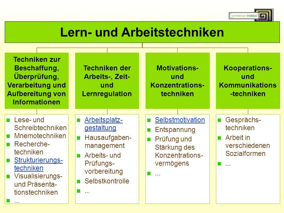 Lern- und Arbeitstechniken Techniken zur Beschaffung, Überprüfung, Verarbeitung und Aufbereitung von Informationen Techniken der Arbeits-, Zeit- und Lernregulation Motivations- und Konzentrations- techniken Kooperations- und Kommunikations -techniken Lese- und Schreibtechniken Mnemotechniken Recherche- techniken Strukturierungs- techniken Visualisierungs- und Präsenta- tionstechniken...