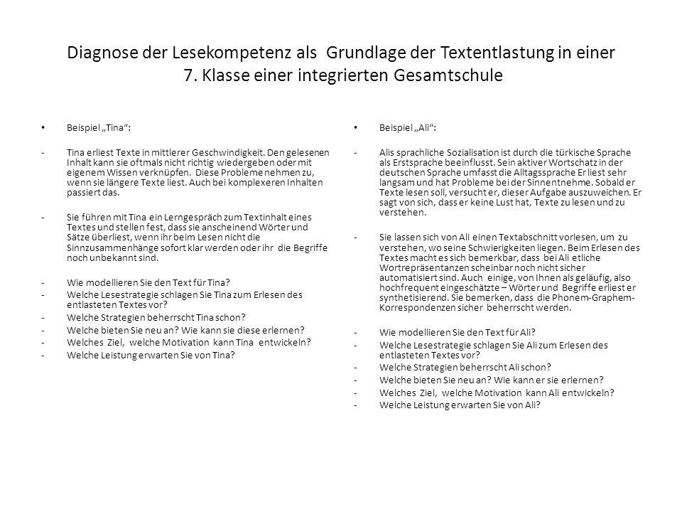 """Texte entlasten – Vorschläge aus dem Projekt """"Lesen macht stark Einsatz modellierter Texte 1."""