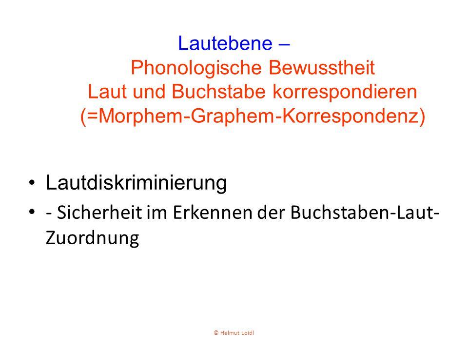 Lautdiskriminierung - Sicherheit im Erkennen der Buchstaben-Laut- Zuordnung Lautebene – Phonologische Bewusstheit Laut und Buchstabe korrespondieren (