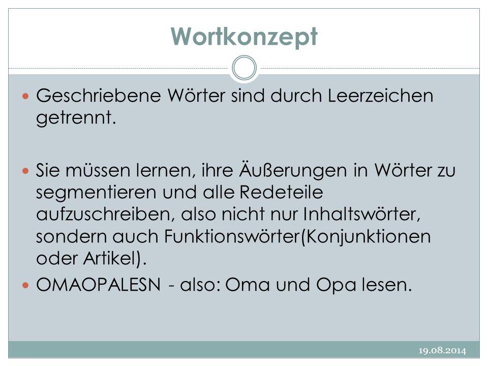 Wortkonzept 19.08.2014 Geschriebene Wörter sind durch Leerzeichen getrennt. Sie müssen lernen, ihre Äußerungen in Wörter zu segmentieren und alle Rede