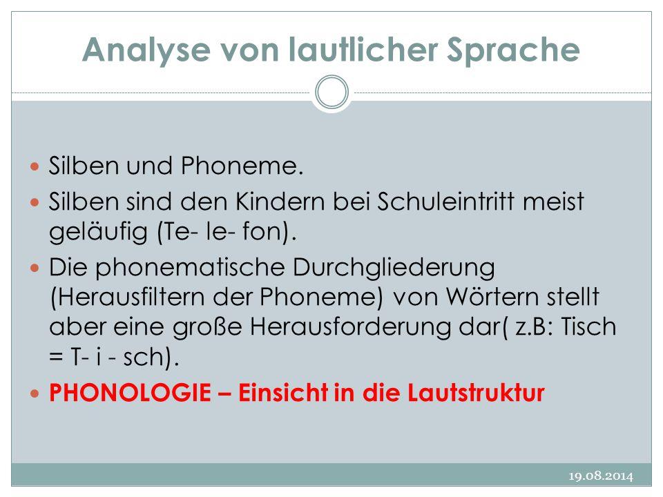 Analyse von lautlicher Sprache 19.08.2014 Silben und Phoneme. Silben sind den Kindern bei Schuleintritt meist geläufig (Te- le- fon). Die phonematisch