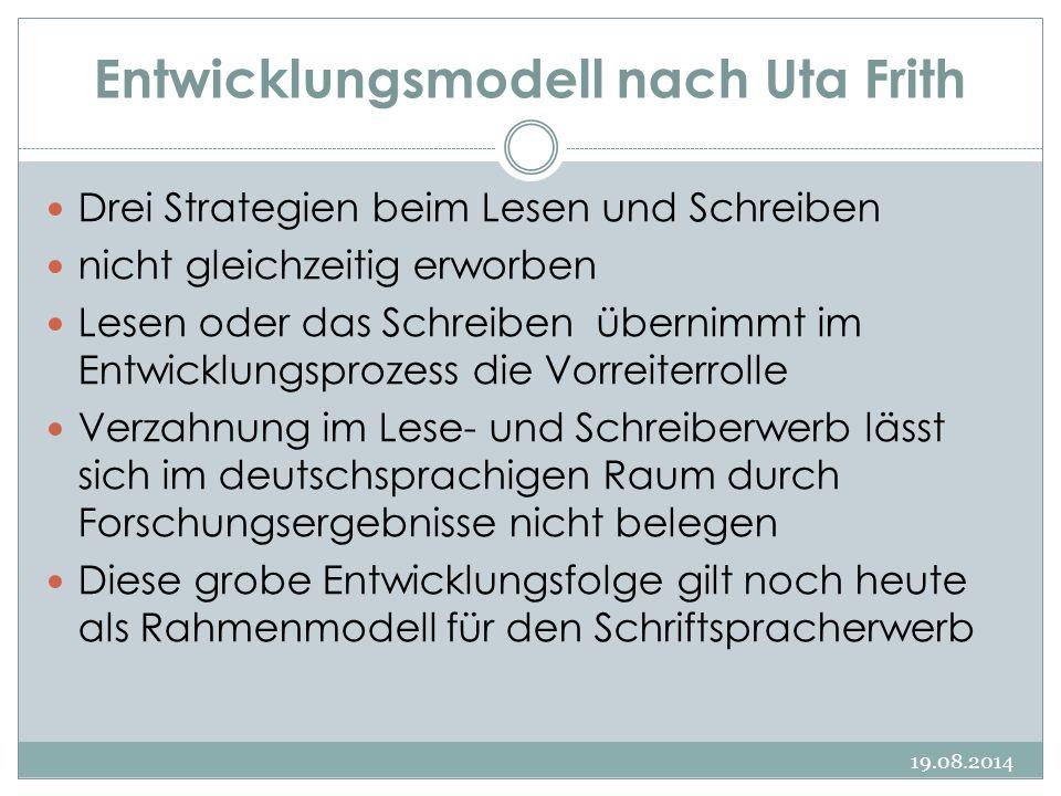 Entwicklungsmodell nach Uta Frith 19.08.2014 Drei Strategien beim Lesen und Schreiben nicht gleichzeitig erworben Lesen oder das Schreiben übernimmt i