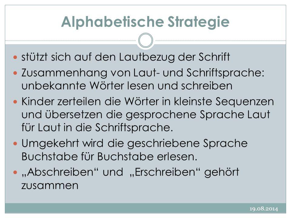 Alphabetische Strategie 19.08.2014 stützt sich auf den Lautbezug der Schrift Zusammenhang von Laut- und Schriftsprache: unbekannte Wörter lesen und sc