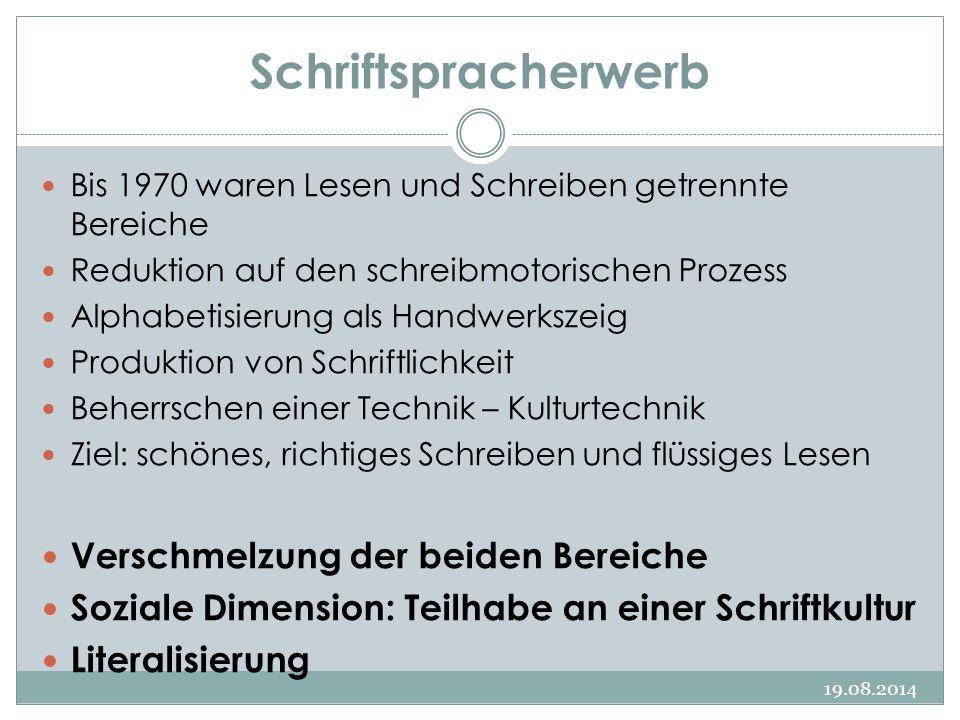 Schriftspracherwerb 19.08.2014 Bis 1970 waren Lesen und Schreiben getrennte Bereiche Reduktion auf den schreibmotorischen Prozess Alphabetisierung als