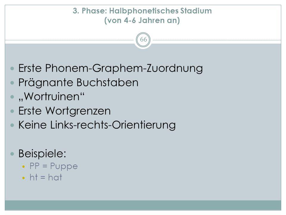 """3. Phase: Halbphonetisches Stadium (von 4-6 Jahren an) Erste Phonem-Graphem-Zuordnung Prägnante Buchstaben """"Wortruinen"""" Erste Wortgrenzen Keine Links-"""