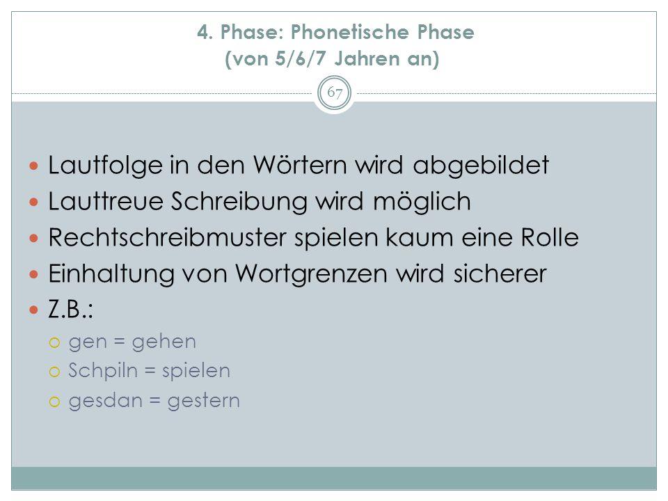 4. Phase: Phonetische Phase (von 5/6/7 Jahren an) Lautfolge in den Wörtern wird abgebildet Lauttreue Schreibung wird möglich Rechtschreibmuster spiele