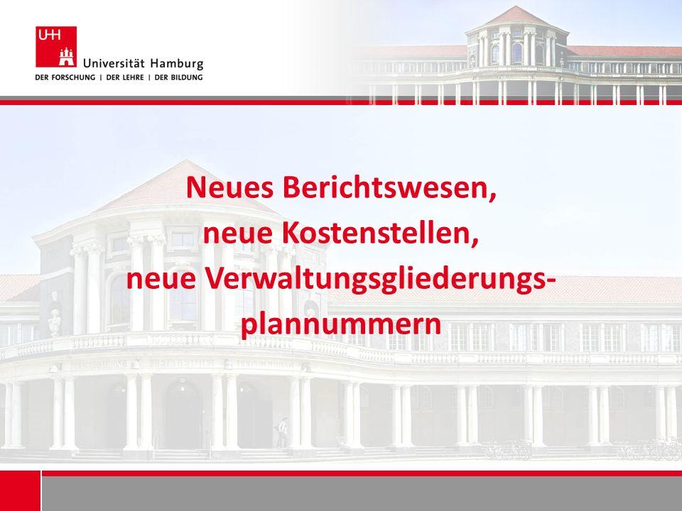 Neues Berichtswesen, neue Kostenstellen, neue Verwaltungsgliederungs- plannummern