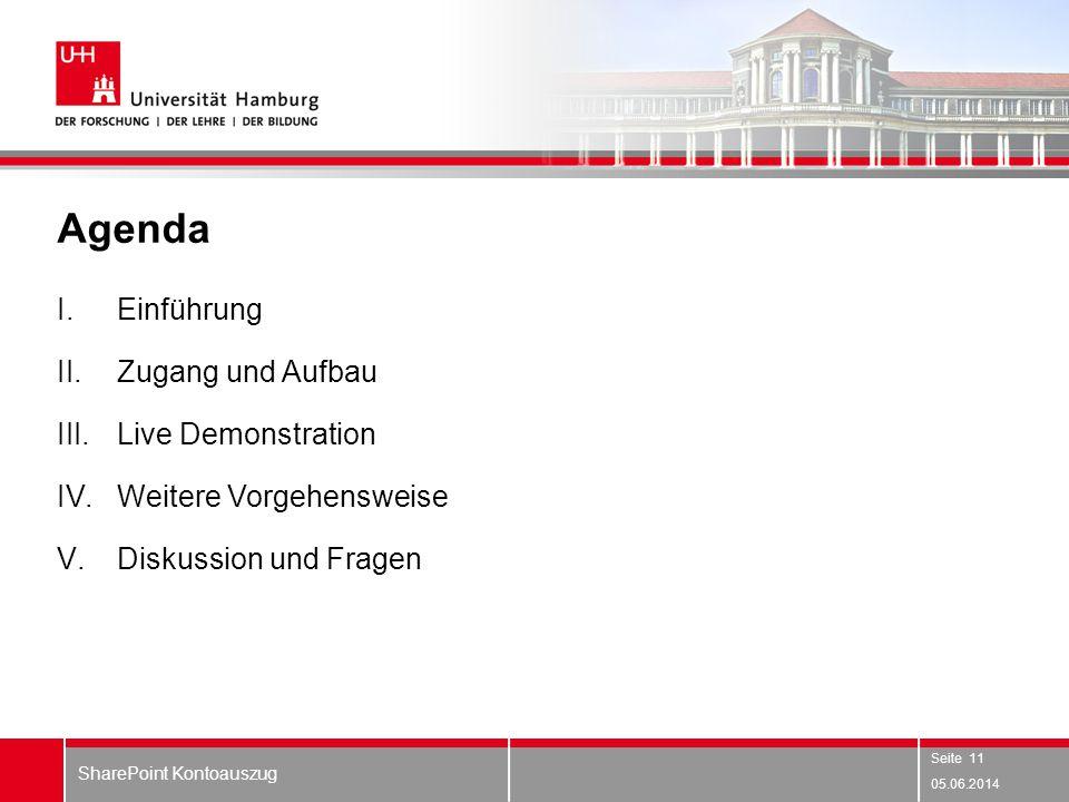 Agenda I.Einführung II.Zugang und Aufbau III.Live Demonstration IV.Weitere Vorgehensweise V.Diskussion und Fragen 05.06.2014 SharePoint Kontoauszug Se