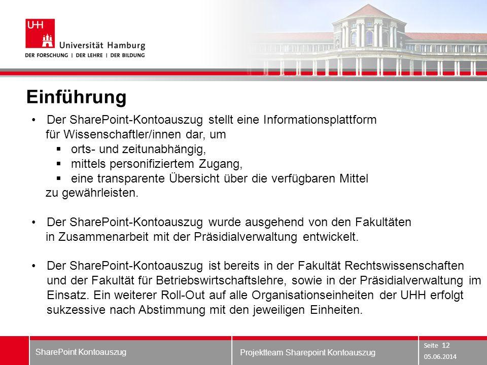 Projektteam Sharepoint Kontoauszug Einführung 05.06.2014 SharePoint Kontoauszug Seite 12 Der SharePoint-Kontoauszug stellt eine Informationsplattform