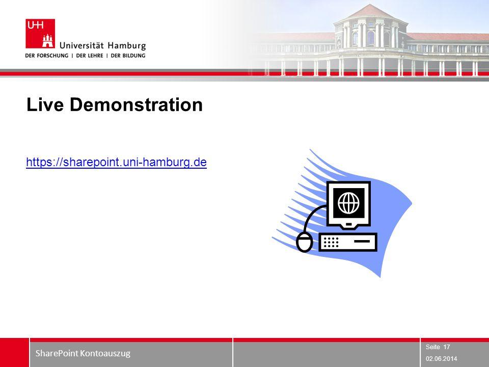 Live Demonstration 02.06.2014 SharePoint Kontoauszug Seite 17 https://sharepoint.uni-hamburg.de
