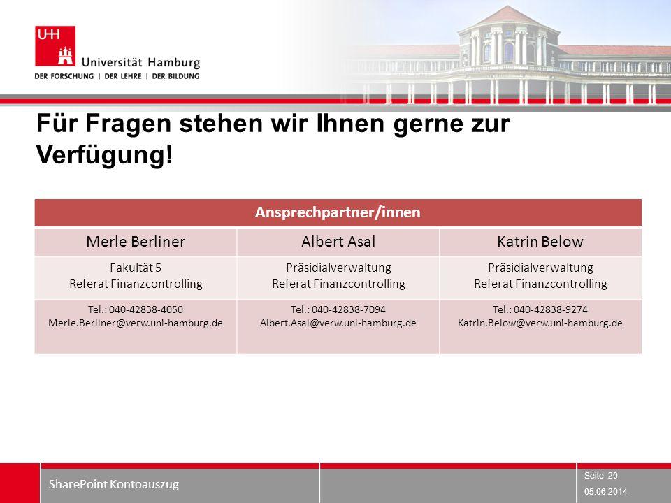Für Fragen stehen wir Ihnen gerne zur Verfügung! 05.06.2014 SharePoint Kontoauszug Seite 20 Ansprechpartner/innen Merle BerlinerAlbert AsalKatrin Belo
