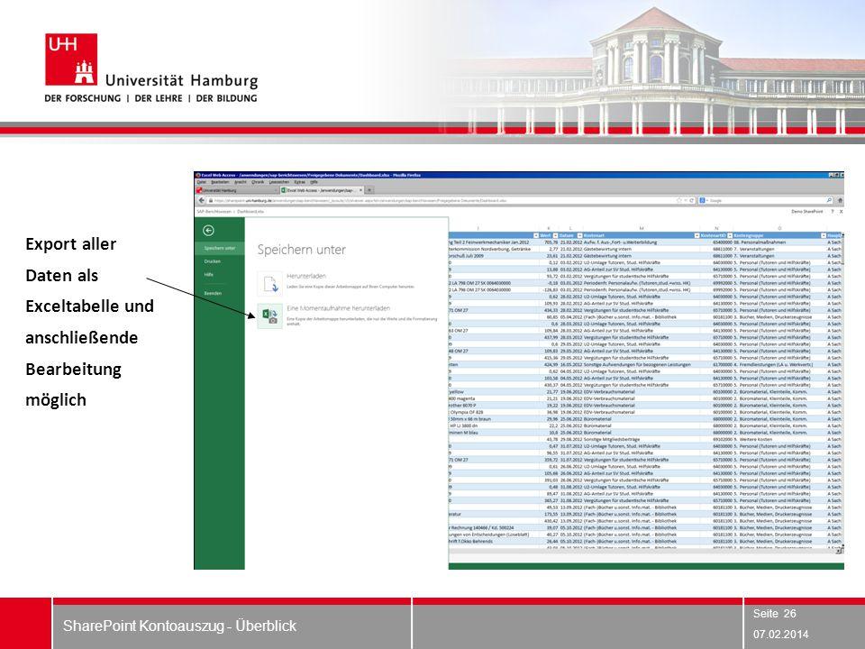07.02.2014 SharePoint Kontoauszug - Überblick Export aller Daten als Exceltabelle und anschließende Bearbeitung möglich Seite 26