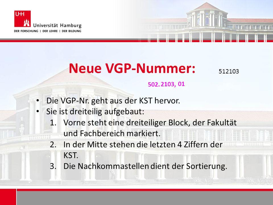 Neue VGP-Nummer: Die VGP-Nr. geht aus der KST hervor. Sie ist dreiteilig aufgebaut: 1.Vorne steht eine dreiteiliger Block, der Fakultät und Fachbereic