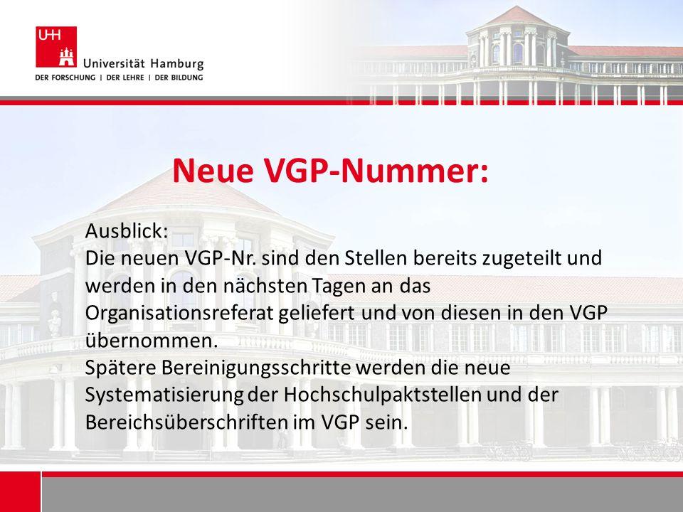 Neue VGP-Nummer: Ausblick: Die neuen VGP-Nr. sind den Stellen bereits zugeteilt und werden in den nächsten Tagen an das Organisationsreferat geliefert