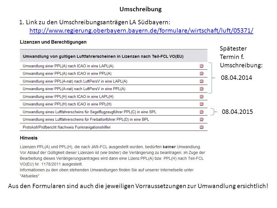 Umschreibung 1. Link zu den Umschreibungsanträgen LA Südbayern: http://www.regierung.oberbayern.bayern.de/formulare/wirtschaft/luft/05371/ Aus den For
