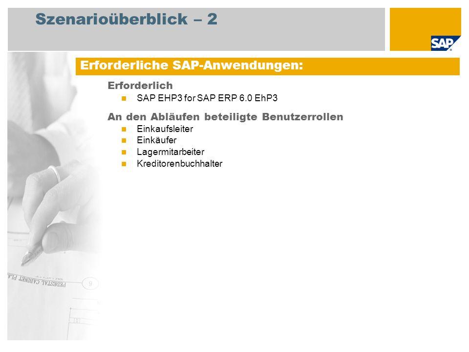 Szenarioüberblick – 2 Erforderlich SAP EHP3 for SAP ERP 6.0 EhP3 An den Abläufen beteiligte Benutzerrollen Einkaufsleiter Einkäufer Lagermitarbeiter K