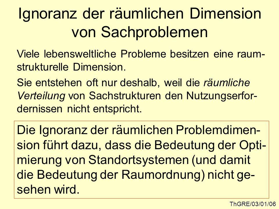 Ignoranz der räumlichen Dimension von Sachproblemen ThGRE/03/01/06 Viele lebensweltliche Probleme besitzen eine raum- strukturelle Dimension.