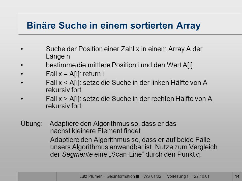 Lutz Plümer - Geoinformation III - WS 01/02 - Vorlesung 1 - 22.10.0114 Binäre Suche in einem sortierten Array Suche der Position einer Zahl x in einem Array A der Länge n bestimme die mittlere Position i und den Wert A[i] Fall x = A[i]: return i Fall x < A[i]: setze die Suche in der linken Hälfte von A rekursiv fort Fall x > A[i]: setze die Suche in der rechten Hälfte von A rekursiv fort Übung: Adaptiere den Algorithmus so, dass er das nächst kleinere Element findet Adaptiere den Algorithmus so, dass er auf beide Fälle unsers Algorithmus anwendbar ist.