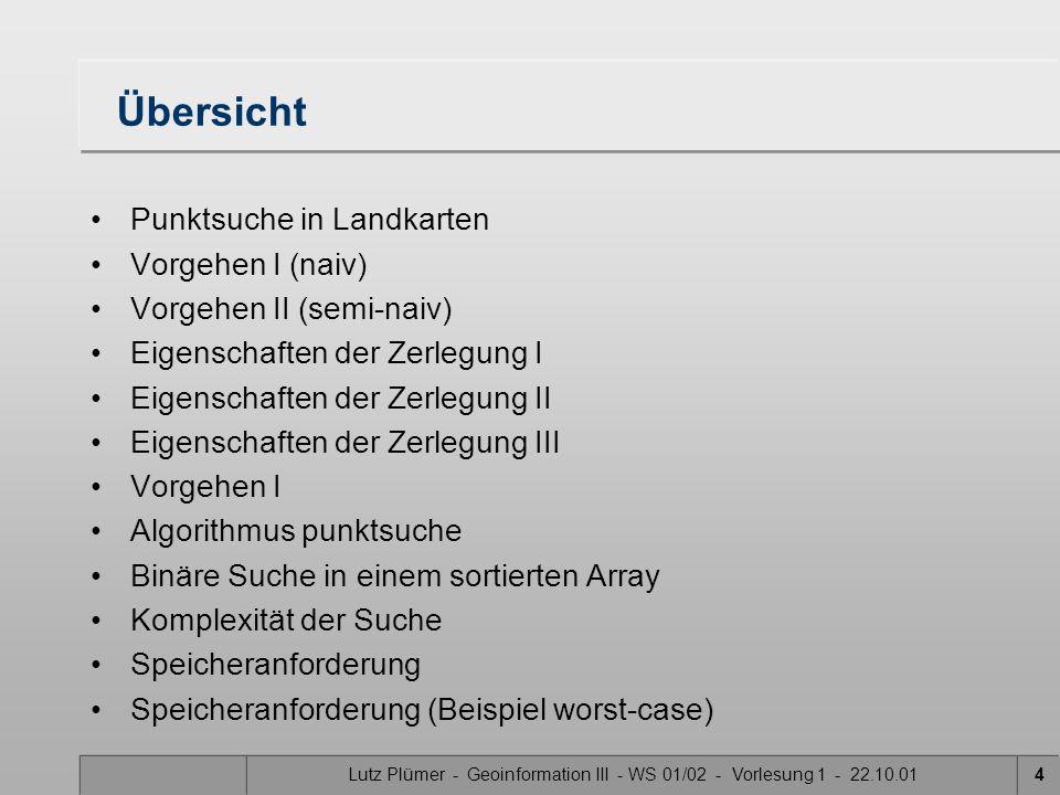 Lutz Plümer - Geoinformation III - WS 01/02 - Vorlesung 1 - 22.10.015 Punktsuche in Landkarten In welcher Masche liegt q.