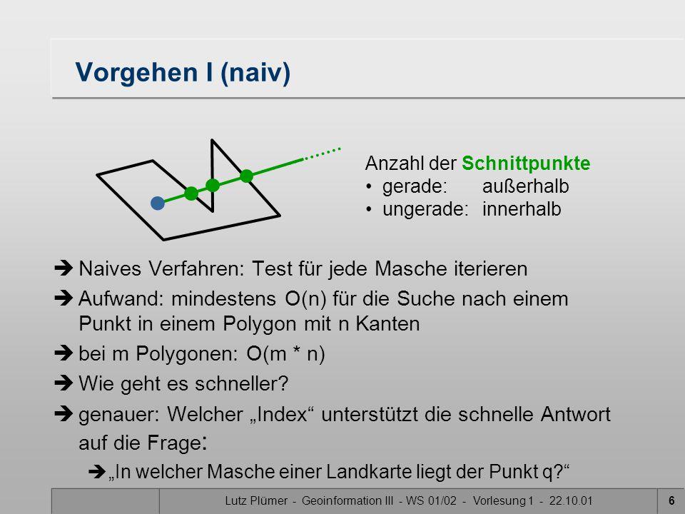 Lutz Plümer - Geoinformation III - WS 01/02 - Vorlesung 1 - 22.10.016 Anzahl der Schnittpunkte gerade: außerhalb ungerade: innerhalb Vorgehen I (naiv) è Naives Verfahren: Test für jede Masche iterieren è Aufwand: mindestens O(n) für die Suche nach einem Punkt in einem Polygon mit n Kanten è bei m Polygonen: O(m * n) è Wie geht es schneller.