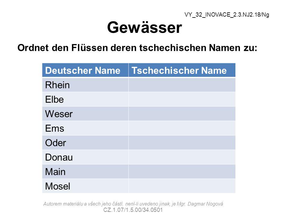 Gewässer Ordnet den Flüssen deren tschechischen Namen zu: Deutscher NameTschechischer Name Rhein Elbe Weser Ems Oder Donau Main Mosel VY_32_INOVACE_2.3.NJ2.18/Ng Autorem materiálu a všech jeho částí, není-li uvedeno jinak, je Mgr.
