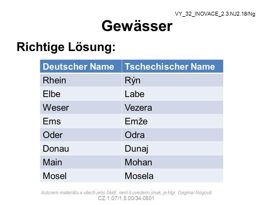 Gewässer Richtige Lösung: Deutscher NameTschechischer Name RheinRýn ElbeLabe WeserVezera EmsEmže OderOdra DonauDunaj MainMohan MoselMosela VY_32_INOVACE_2.3.NJ2.18/Ng Autorem materiálu a všech jeho částí, není-li uvedeno jinak, je Mgr.