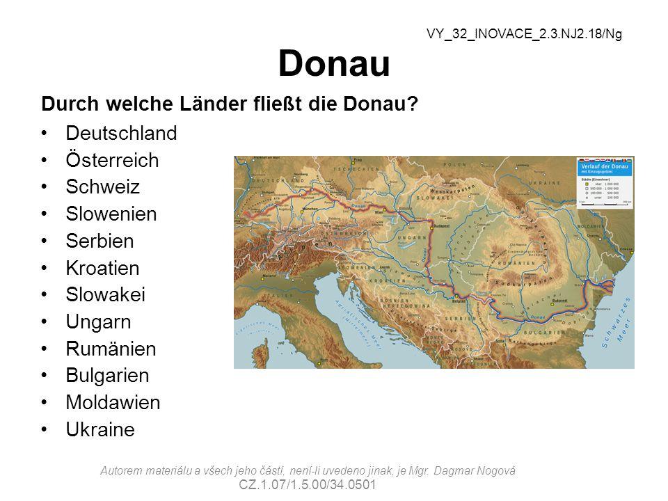 Donau Durch welche Länder fließt die Donau.