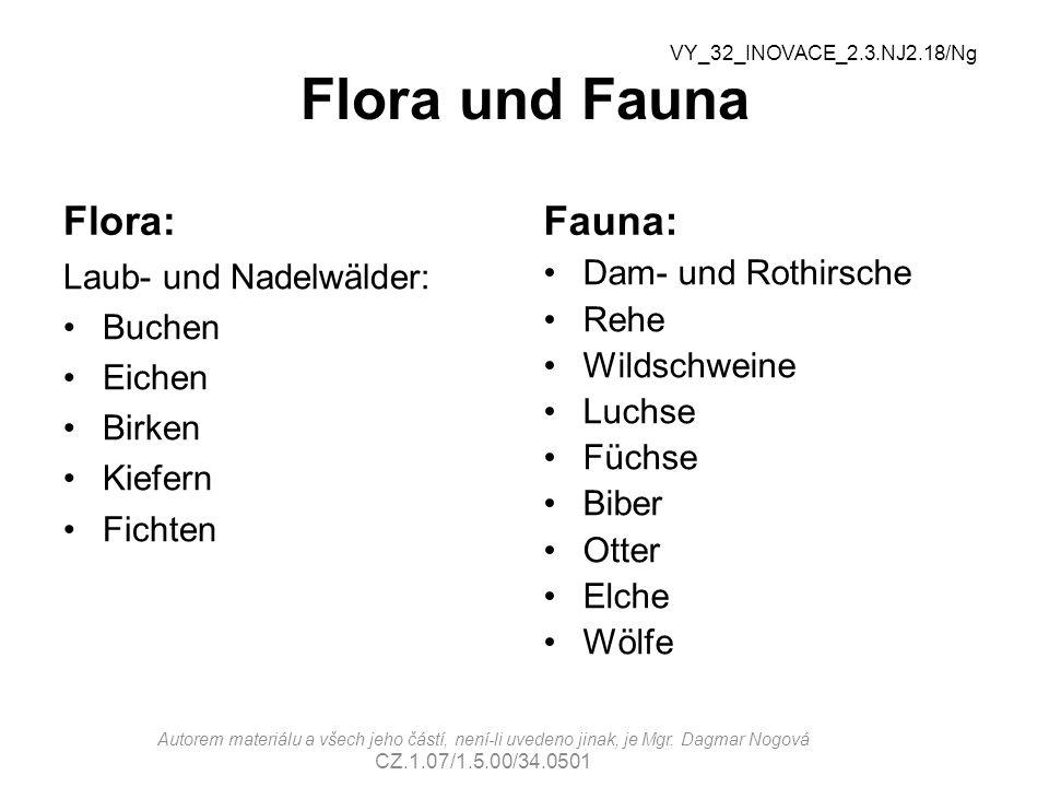Flora und Fauna Flora: Laub- und Nadelwälder: Buchen Eichen Birken Kiefern Fichten Fauna: Dam- und Rothirsche Rehe Wildschweine Luchse Füchse Biber Otter Elche Wölfe VY_32_INOVACE_2.3.NJ2.18/Ng Autorem materiálu a všech jeho částí, není-li uvedeno jinak, je Mgr.