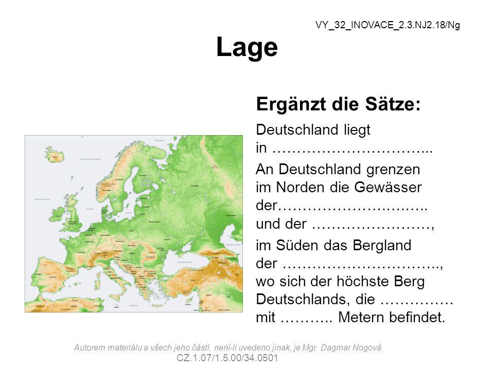 Lage Ergänzt die Sätze: Deutschland liegt in …………………………...