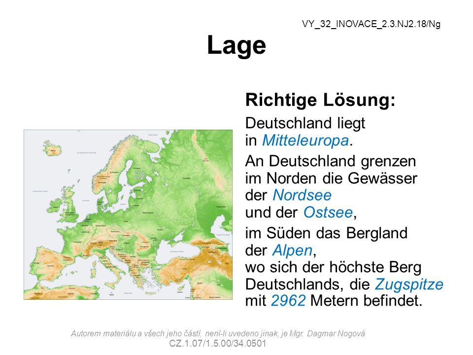Lage Richtige Lösung: Deutschland liegt in Mitteleuropa.