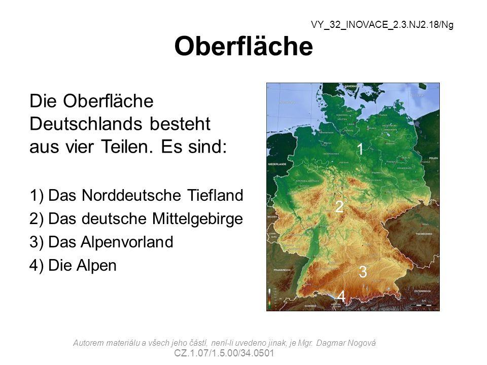 Oberfläche Die Oberfläche Deutschlands besteht aus vier Teilen.