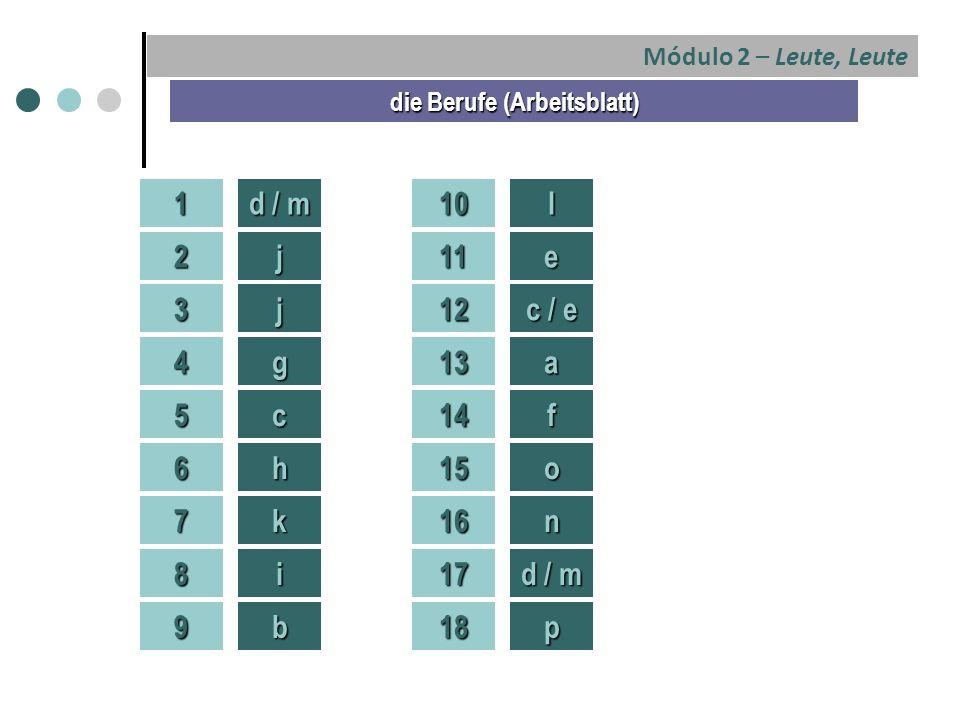 Módulo 2 – Leute, Leute 1 die Berufe (Arbeitsblatt) 2 3 4 5 6 7 8 9 d / m j j g c h k i b 10 11 12 13 14 15 16 17 18 l e c / e a f o n d / m p